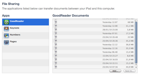 GoodReader Sync Area in iTunes