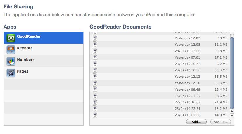 GoodReader Sync Area in iTunes